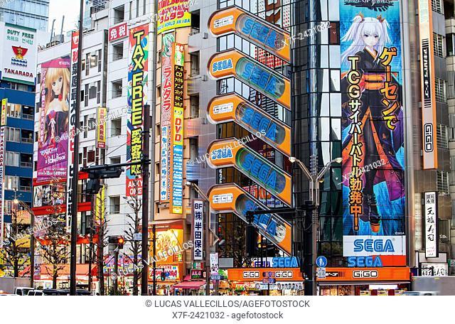 Street scene, at Chuo Dori street, Akihabara, Tokyo, Japan