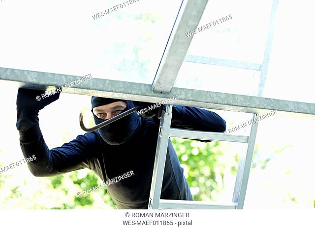 Burglar on ladder peeking at open roof window