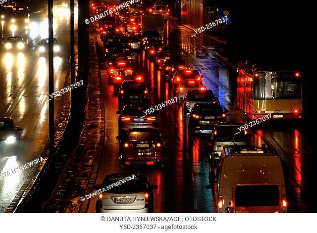 night traffic in Warsaw, Trasa Lazienkowska, Warsaw, Poland