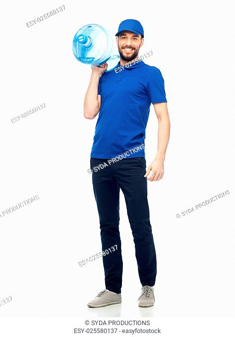 delivery service and people concept - happy man or courier with bottle of water