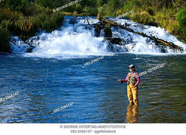 Flyfishing at Fall River Falls, La Pine State Park, Oregon