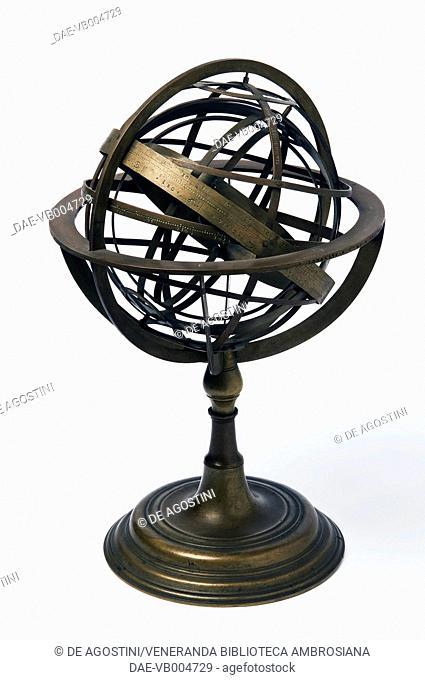 Armillary sphere, 1549, by Janello Torriani or Gianello Torriani (1500-1585), brass, ball diameter 17.1cm, height 30.5cm, inv 305