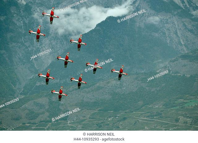 SION, SWITZERLAND, Swiss air force PC-7 team in formation at the Breitling Air show. September 17, 2011 in Sion, Switzerland
