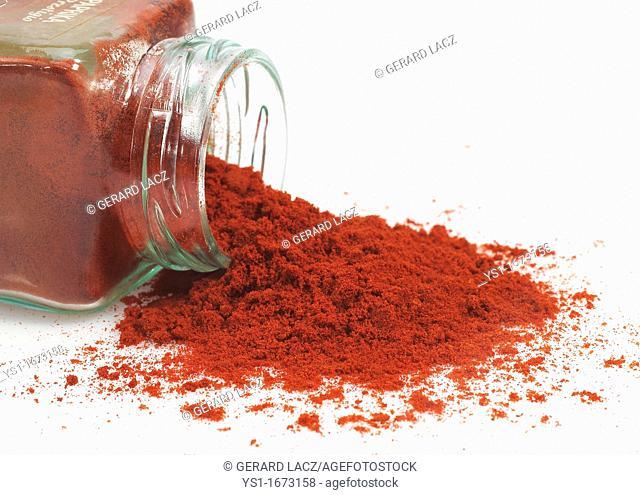 Paprika Powder, capsicum annuum, Spice against White Background