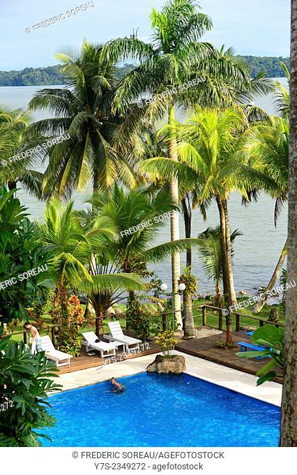 The swimming pool of Hotel Villa Caribe, Livingston, Rio Dulce, Guatemala, Central America