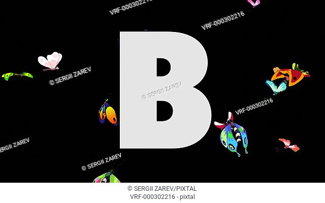 letter, B, English, Butterfly