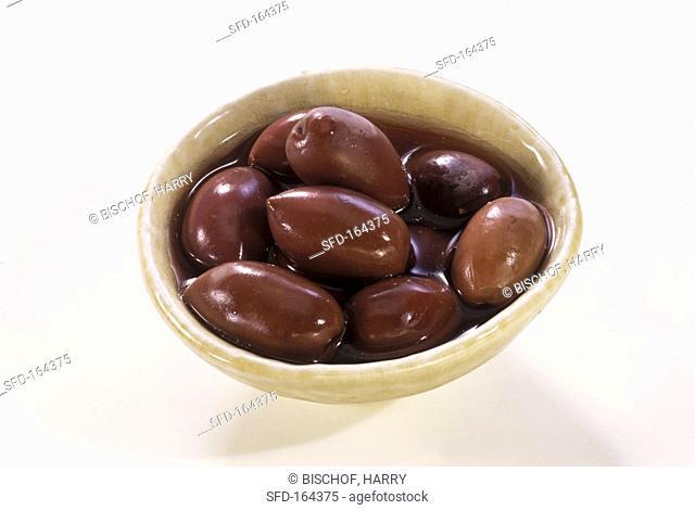 Pickled black olives in a bowl