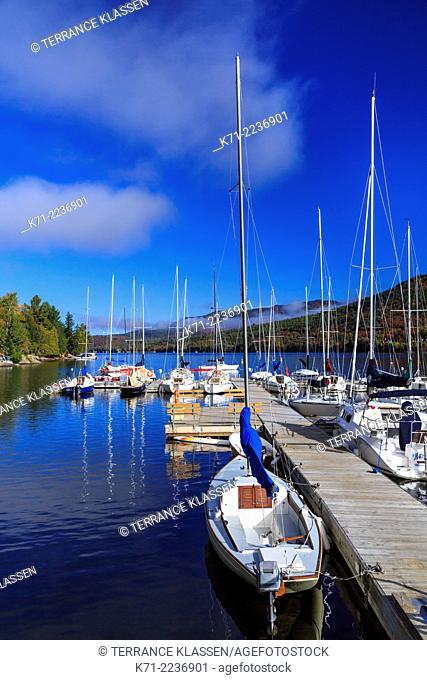 Sailboats at the marina near Mont-Tremblant, Quebec, Canada