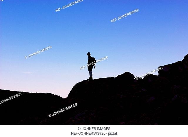 A man walking in the mountains, Sarek, Sweden