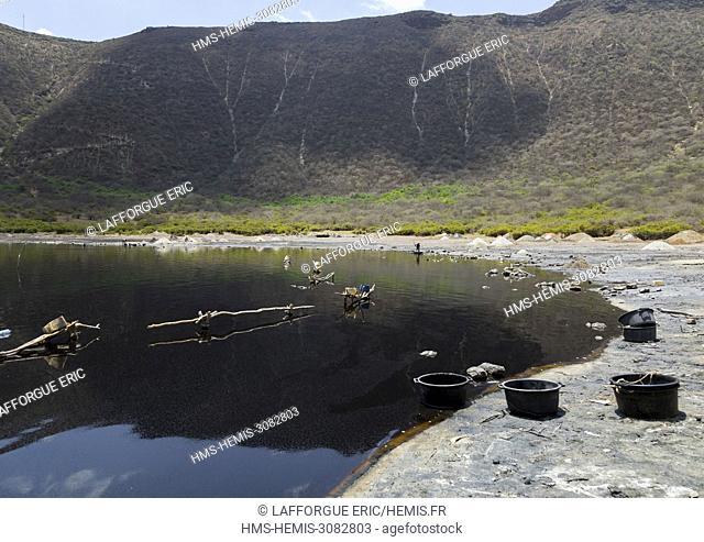 Ethiopia, Oromia, El Sod, Volcano crater where borana tribe men dive to collect salt
