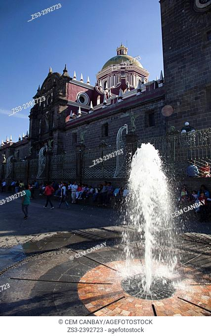 Cathedral of Puebla at the Plaza Mayor- Zocalo with a fountain in the foreground, Puebla, Puebla State, Mexico, Central America