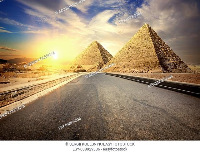 Asphalted road to Giza among the desert