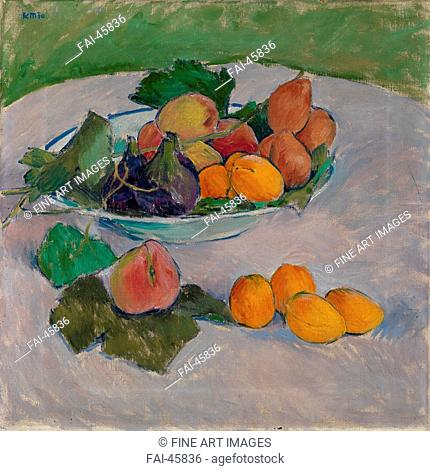 Still life with fruit and leaves by Moser, Koloman (1868-1918)/Oil on canvas/Modern/1910/Austria/Private Collection/50x50/Still Life/Painting/Stillleben mit...