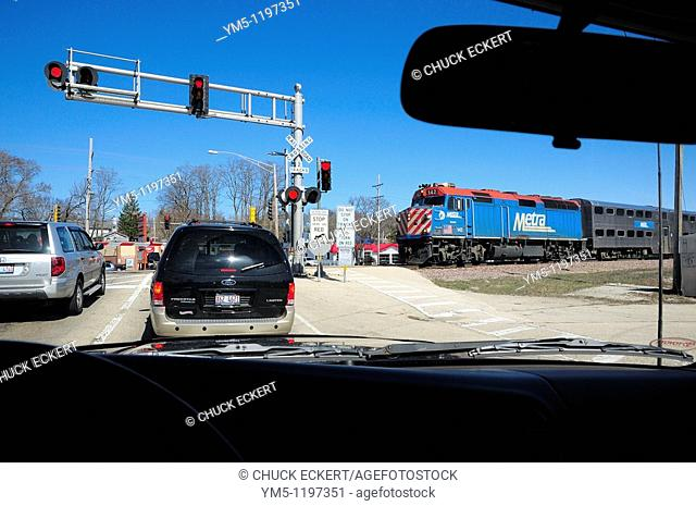 Metra train crossing dangerous intersection in Fox River Grove, Illinois, USA  Infamous school bus tragedy occurred here