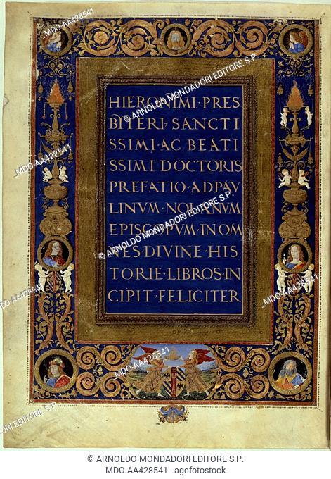 Illuminated page from the Bible of Federico di Montefeltro, by Unknown Artist close to Attavante Attavanti, 1476 - 1478, 15th Century, manuscript on parchment