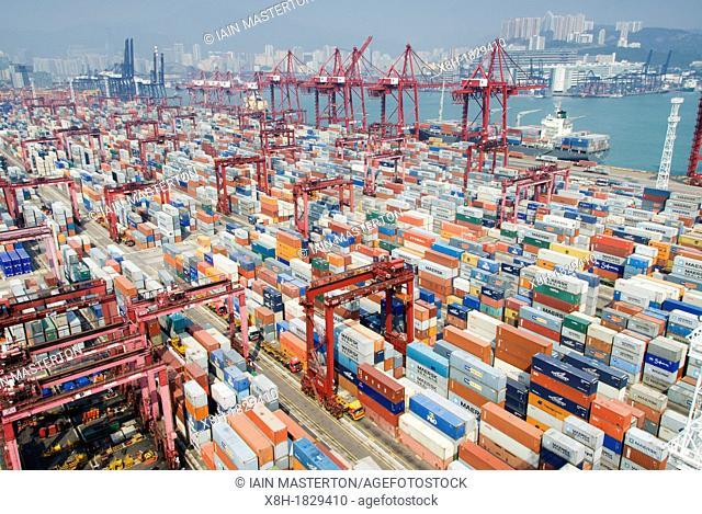 Busy container terminal No 9 in Kwai Chung Hong Kong China