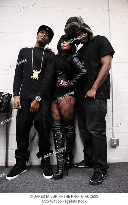 Rappers JBar, Hazel-E and Big Hood Boss on set for Soulja Boy Tell 'Em music video on February 11, 2010 in Los Angeles, California