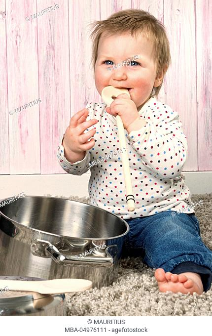 Baby, toddler, cooking utensils, play, studio