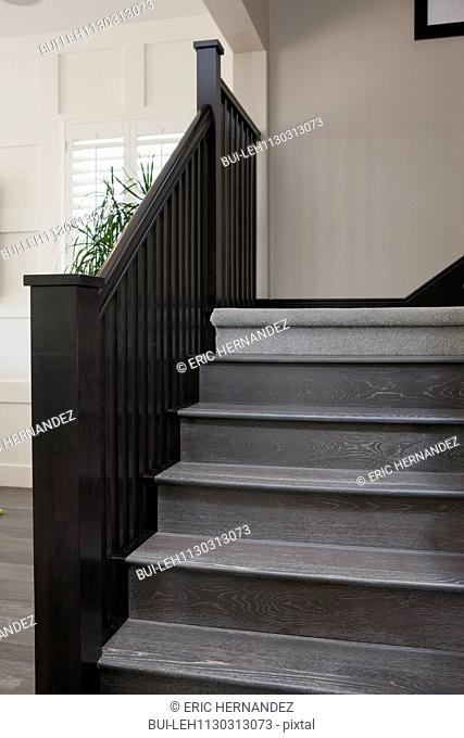 Wooden stairs and railing in house