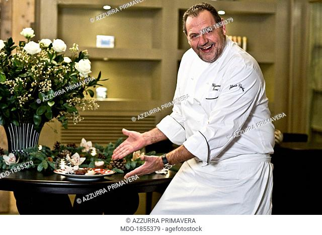 Italian chef Gianfranco Vissani showing a Christmas meal made by himself for a photocall shooted at his restaurant. Terni (Italy), 29th November 2013