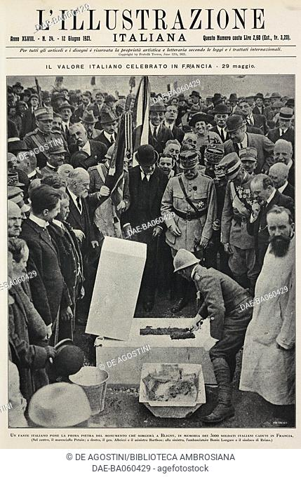 Italian soldier laying the foundation stone of the monument to the 3,000 Italian soldiers who died in France during World War I, Bligny, France