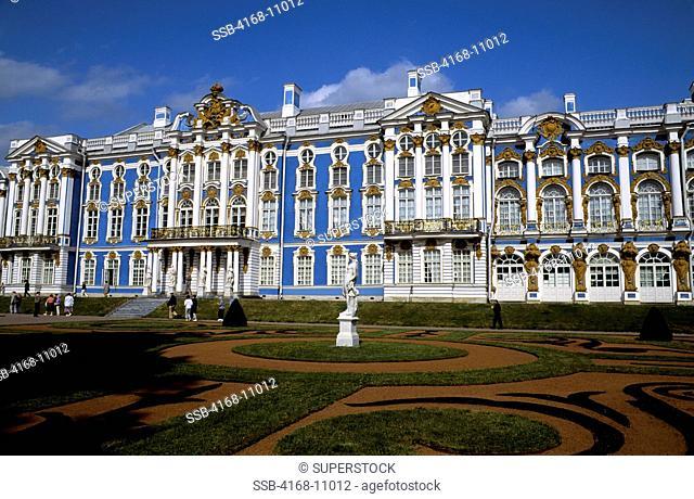 Russia,Near St. Petersburg Pushkin, Catherine Palace, View Of Main Entrance