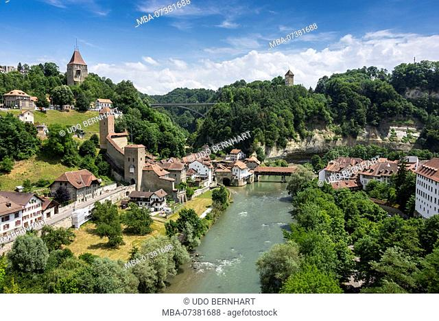 View of the city and river Saane, Fribourg, Canton of Fribourg, Western Switzerland, Switzerland