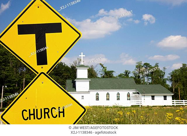 Osgood, Indiana - The Cedar Creek Community Church on a country road in southeastern Indiana