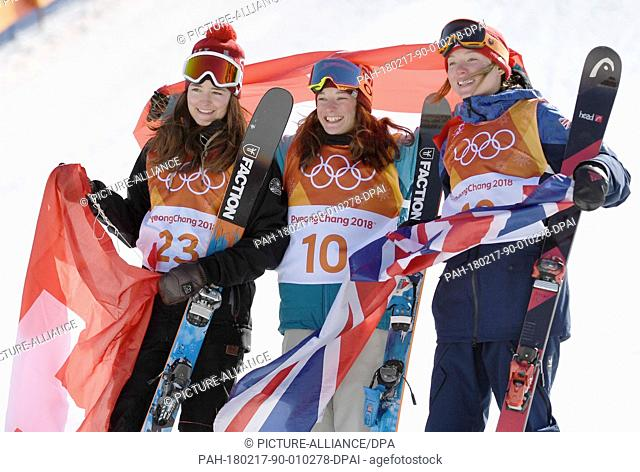 Mathilde Gremaud (left to right, silver) from Switzerland, Sarah Hoefflin (gold) from Switzerland and Isabel Atkin (bronze) from the UK celebrating their medals...