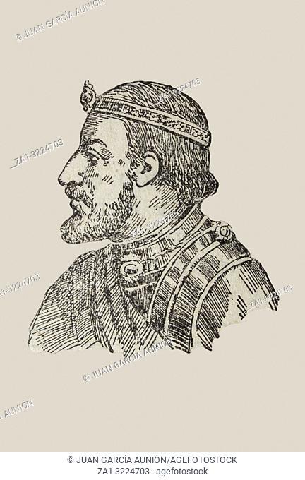 Badajoz, Spain - Jan 7th, 2019: Ramon Berenguer III, count of Barcelona, Girona, and Ausona from 1086 to 1131. Draw from book Enciclopedia Autodidactica...