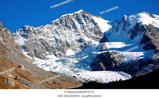 panorama mountain landscape of the Bernina mountain range in Switzerland on a gorgeous summer day
