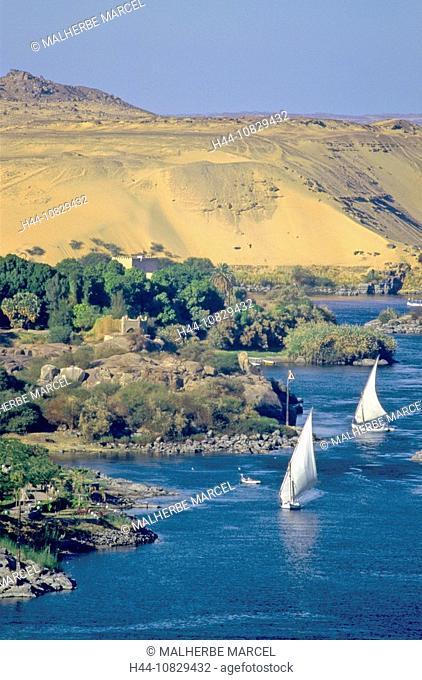 Egypt, North Africa, Aswan, feluccas, Feluken, sail boats, Nile, river, flow, desert, scenery