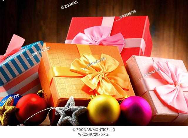 Colorful gift boxes and glass balls
