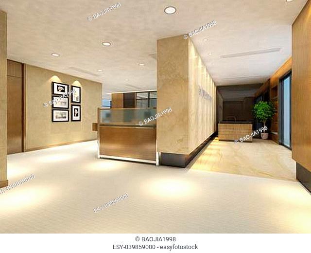 rendering empty lobby interior