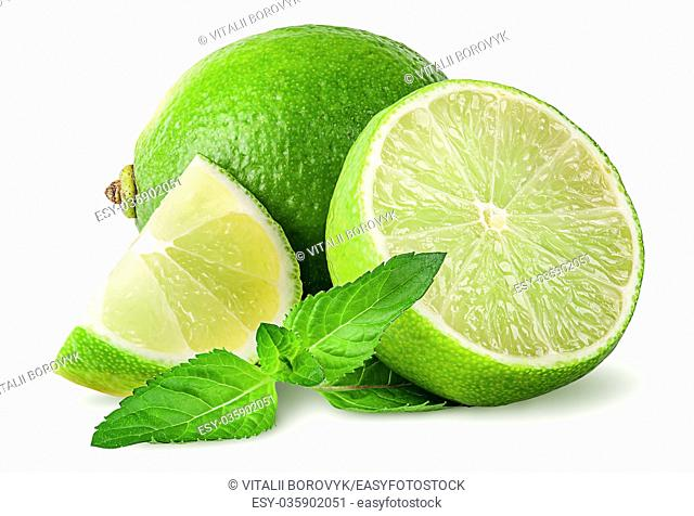 Whole and few pieces of lime with mint isolated on white background