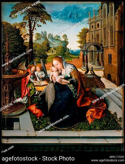 Virgin and Child with Angels. Artist: Bernard van Orley (Netherlandish, Brussels ca. 1492-1541/42 Brussels); Date: ca. 1518; Medium: Oil on wood; Dimensions: 33...