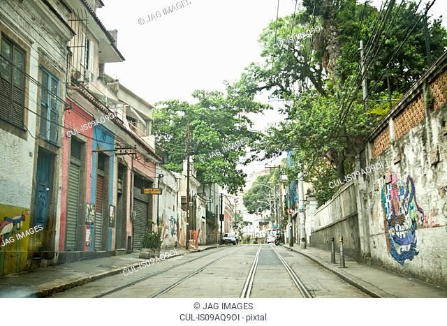 Empty, urban street with tram rails, Rio de Janeiro, Brazil