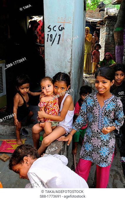 In the Katputli colony slum  There are many children in the slum, Surprisingly they do not look sad