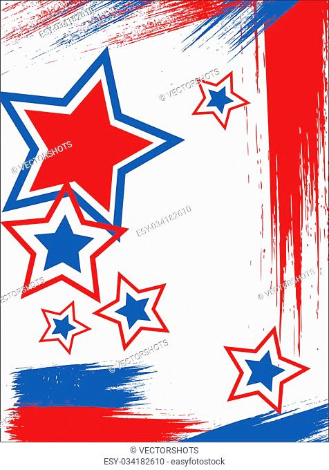 Drawing Art of Poster - 4th of July Vector theme Design