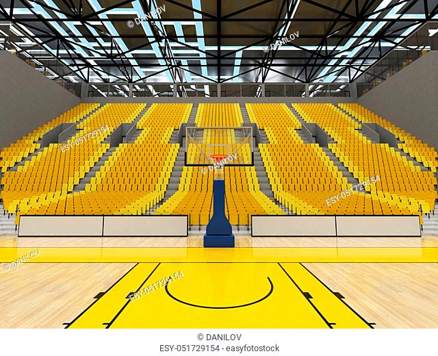 Beautiful sport arena for basketball with floodlights and yellow seats and VIP boxesfor ten thousand people