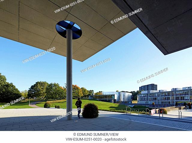 Silberrad Student Centre view from underneath entrance. Albert Sloman Library and Silberrad Student Centre University of Essex, Colchester, United Kingdom