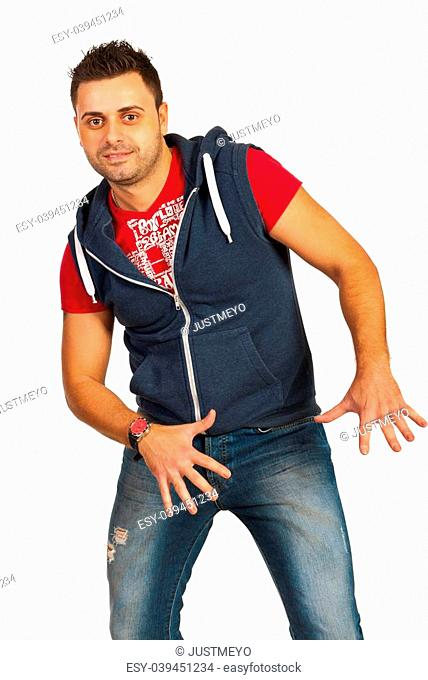 Hip hop dancer man in cool clothes isolated on white background