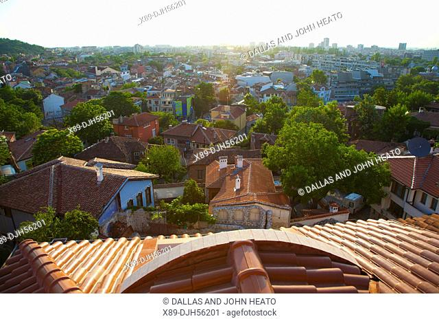 Bulgaria, Europe, Plovdiv, Old Town, Historic House Rooftops looking South from Nebet Tepe, Prayer Hill