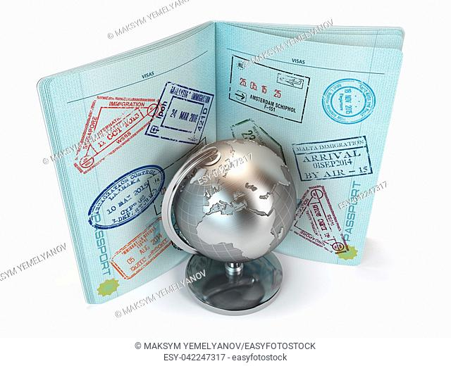 Passport with lot of visa stamps and metal globe isolated on white background. Travel and tourism concept. 3d illustration