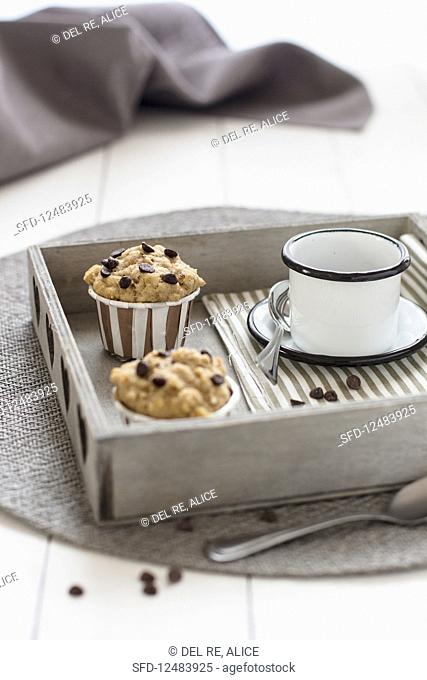 Chocolate chip muffins and a cup of coffee