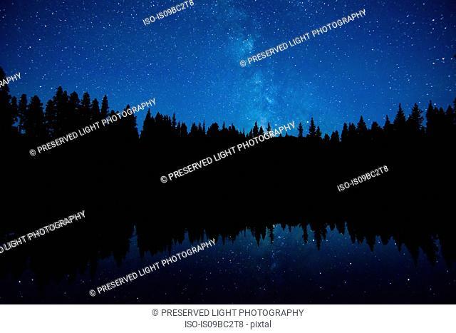 Astronomical twilight, Milky Way Galaxy, Nickel Plate Provincial Park, Penticon, British Columbia, Canada