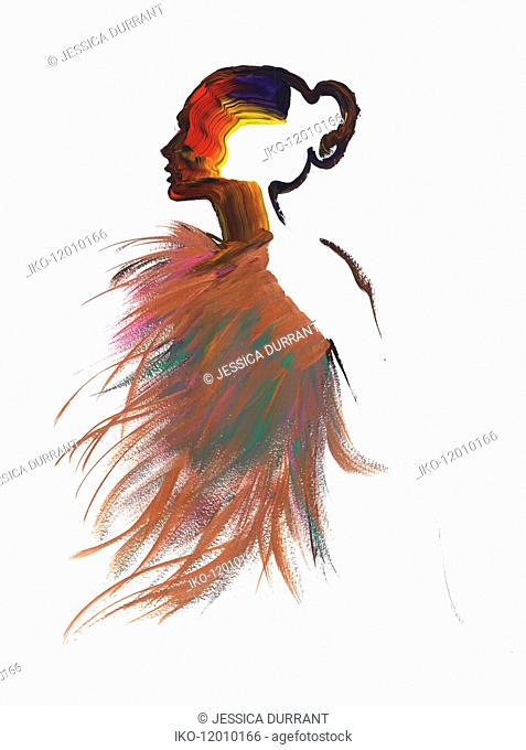 Multicoloured silhouette of woman wearing feathers