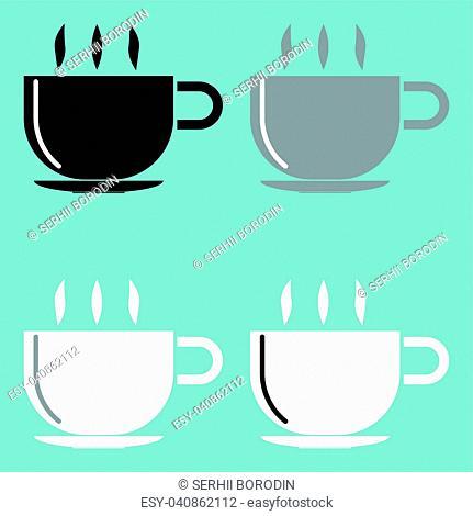 Cup black grey black icon set