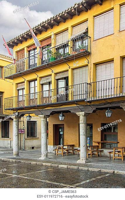 Ancient main square with arcades after rain in Tordesillas, Spain