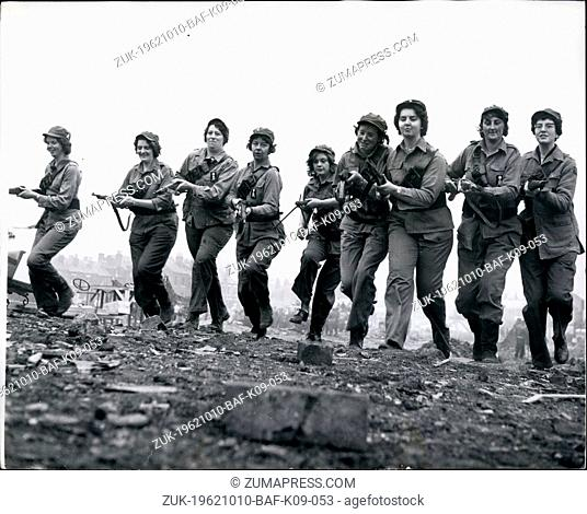 Oct. 10, 1962 - 'Amazon Army' On A Film Set: Nine big girls - average height 5ft. 11 ins - went into action with rifles and machine guns on a film set in Leeds...